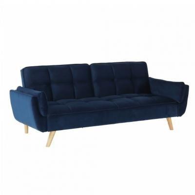 3 személyes bársony kanapé, ágyfunkcióval, sötétkék - POSEIDON